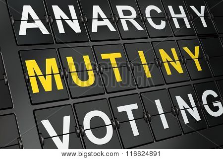Political concept: Mutiny on airport board background