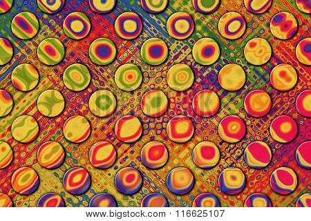 A Colorful Abstract Paint Textured Background with Circles, Grid Pattern