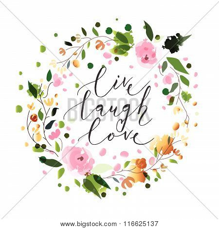 Hand Sketched Live Laugh Love Text As Valentine's Day Badge/icon