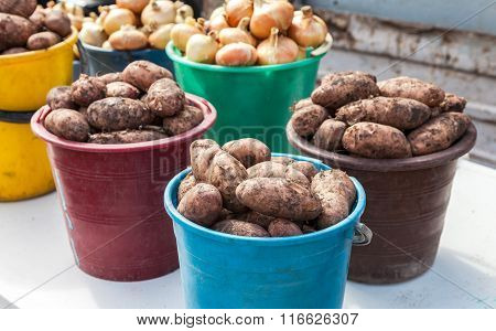 Fresh Organic Potatoes Of New Harvest To Sale At The Local Farmers Market