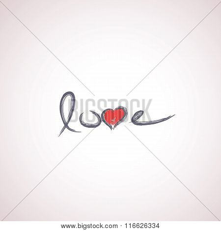 Handwritten word love with heart. Creative valentine typography card beautiful handwriting. Simple a