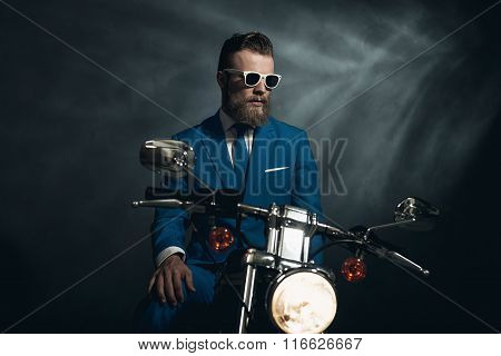Stylish Trendy Man On A Motorcycle