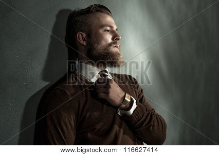 Thoughtful Man Standing Daydreaming