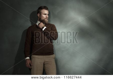 Thoughtful Man Standing Looking At Copyspace