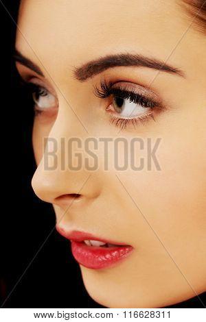 Beautiful woman with fresh evening makeup.