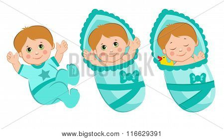 Baby Shower Boy Invitation. Sleep Newborn Boy. Newborn Baby Boy. Newborn Boy Diapers. Newborn Boy Clothes. Vector Illustration of a Child. Newborn Boy Care. Newborn Baby Picture Set. Baby Smile.
