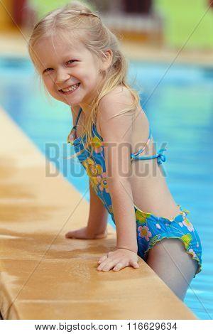 Girl  Near The Open-air Swimming Pool