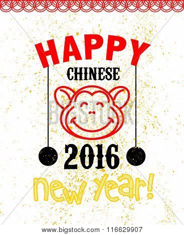 Vector chinese new year postcard template.