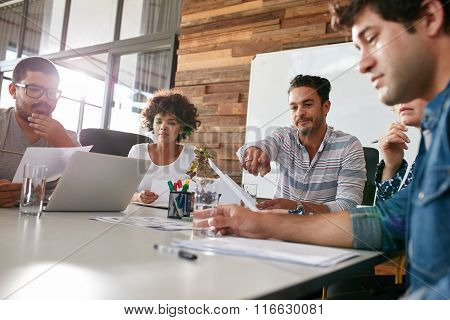 New Project Progress Discussion In Boardroom