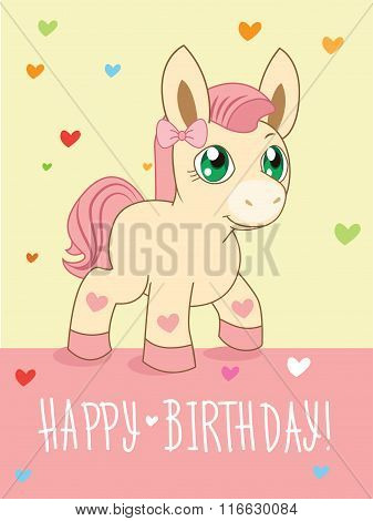 Greeting Card. Cute Girl. Cartoon Animals Vector. Lovely Horse Pony. Cartoon Animal Vector. Greeting Card. Pony Advert. Pony Art. Pony Girl. Pony Club. Pony Dance. Buddies. Beautiful Pony. Fairy Tale.