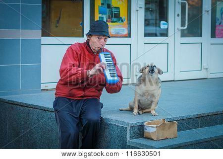 Zhytomyr, Ukraine - September 23, 2013: Low-income Man Playing The Harmonica and howling dog.