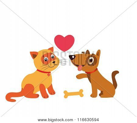 Happy Cat And Dog Friendship. Cartoon Illustration Of Best Friends. Cat And Dog Cartoon.