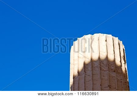 In   Old Column  Stone  And  Roman Temple