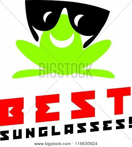 Vector simple flat logo with frog character.