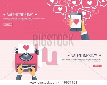 Vector illustration. Flat background with typewriter and smartphone in hand. Love, hearts. Valentine