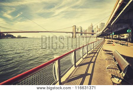 Retro Stylized Hudson River Bank With Bench And Brooklyn Bridge In Distance, Nyc.