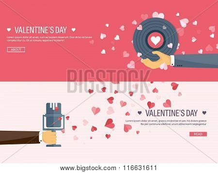 Vector illustration. Flat musical background with microphone and vinyl. Love, hearts. Valentines day