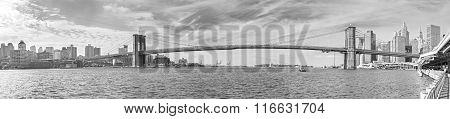 Black And White Panoramic Picture Of Brooklyn Bridge, New York City, Usa.