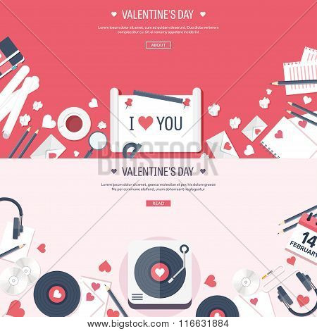 Vector illustration. Flat musical background with vinyl. Love, hearts. Valentines day. Be my valenti