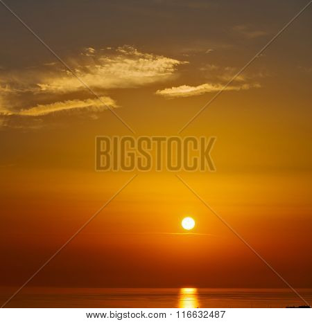 Mediterranean Red Sea In Cyclades  Hill    Greece Sunset And The Sky