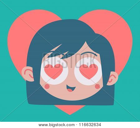 Cartoon Girl Madly In Love