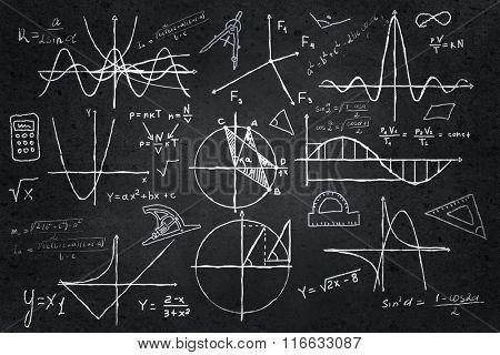 Mathematics sketches on blackboard