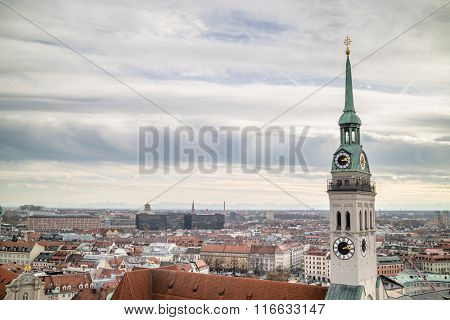 View overlooking the town of Munich with a tower of the famous St. Peter's Church in the foreground.