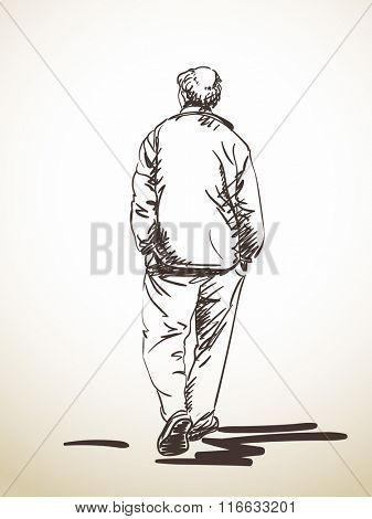 Sketch of walking man with hands in his pockets, Hand drawn illustration