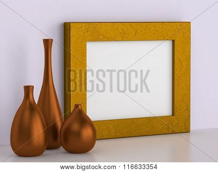 Three Ceramic Vases And Golden Frame For Picture