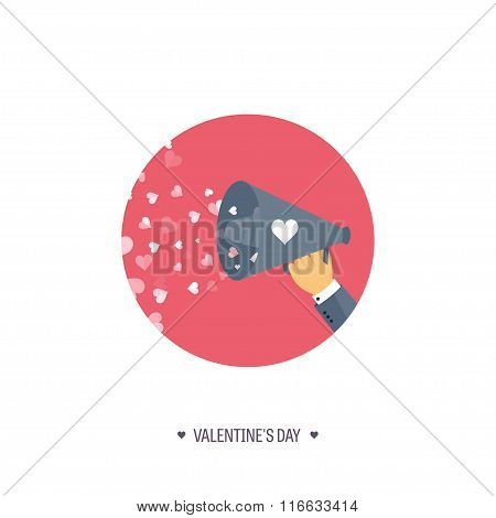 Vector illustration. Flat background with loudspeaker. Love, hearts. Valentines day. Be my valentine
