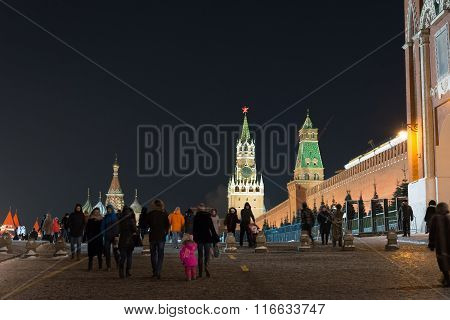 Moscow, Russia - January 10.2016.  People walk on Red Square