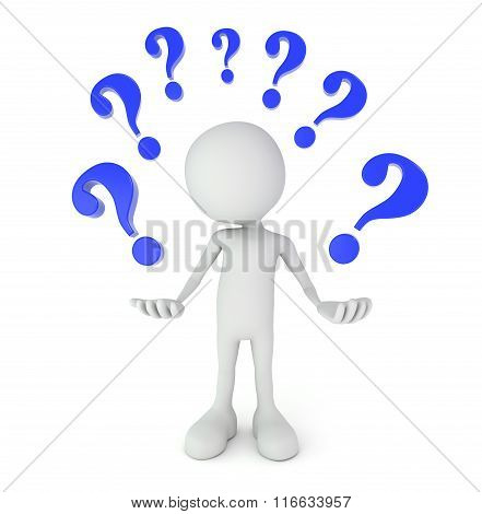 White 3D Person Surrounded By Question Marks