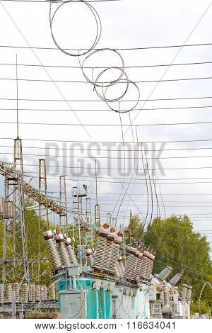 Electrical Substation Poles And Wires