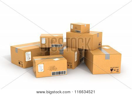 Global Packages Delivery And Parcels Transportation Concept, Stack Of Cardboard Boxes Isolated On Wh