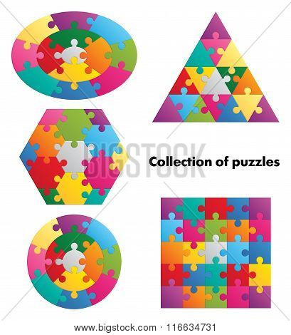 Collection of puzzles - 5 colorful figures