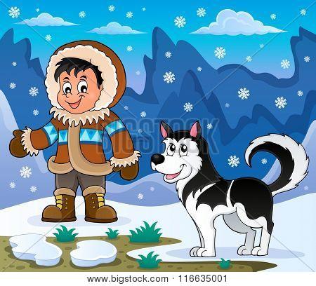 Inuit boy with Husky dog - eps10 vector illustration.