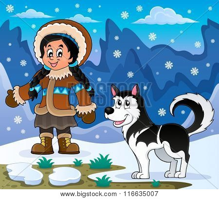 Inuit girl with Husky dog - eps10 vector illustration.