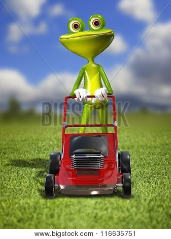 A Frog With A Frontal Mower
