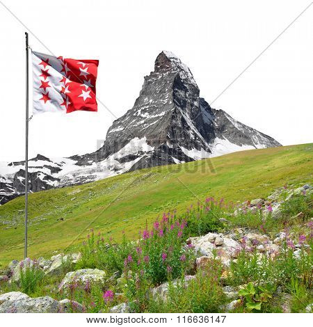 Beautiful mount Matterhorn with Valais flag on white background. Switzerland.