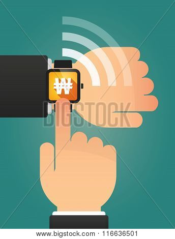 Hand Pointing A Smart Watch With A Won Currency Sign
