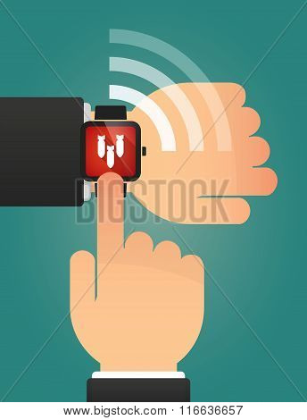 Hand Pointing A Smart Watch With Three Bombs Falling