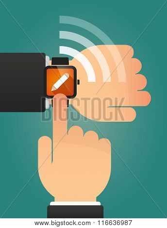 Hand Pointing A Smart Watch With A Pencil