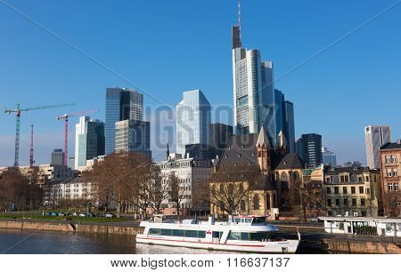 frankfurt's Skyline By Main River  In Frankfurt.