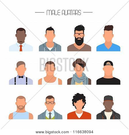 Male avatar icons vector set. People characters in flat style. Faces with different styles and natio