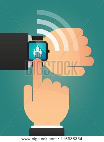 Hand Pointing A Smart Watch With A Female Single Parent Family Pictogram