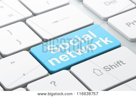 Social media concept: Social Network on computer keyboard background