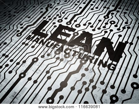 Industry concept: circuit board with Lean Manufacturing