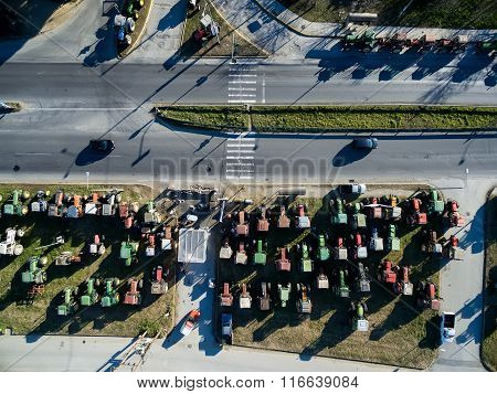 Aerial Photographs Tractors That Have Lined Up The Farmers At The Chalkidona At North Greece  To Pro
