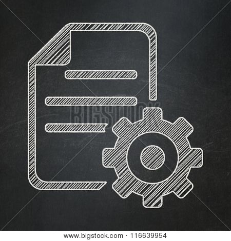 Software concept: Gear on chalkboard background