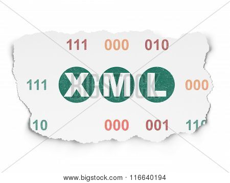 Programming concept: Xml on Torn Paper background